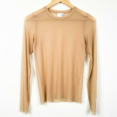 WILFRED NEW 19662 Sheer Lace Trim Tee Womens Top M