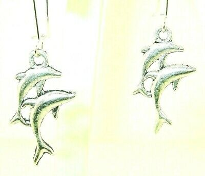 """New  Wonderful 3-D Double Jumping  DOLPHINS  Silver-tone Dangle Earrings 2"""" Long"""