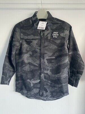 Next .82 long length long sleeve camouflage black grey boys shirt age 5 Years