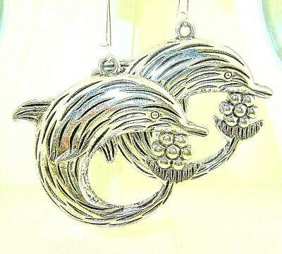 """New  Large 3-D Textured  DOLPHIN  Silver-tone Drop Dangle Earrings   2.75"""" Long"""