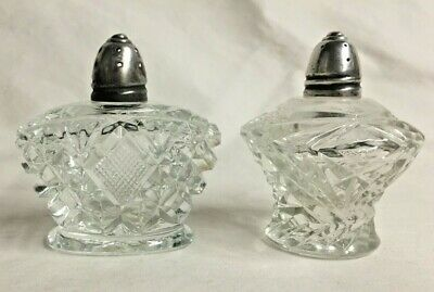 Antique Cut Glass and Silver Salt & Pepper Shakers S&P