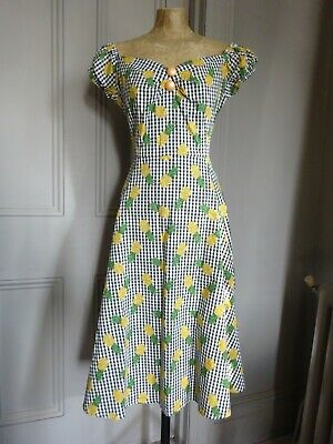Collectif Dolores Hatch Check Doll Vintage Style Dress