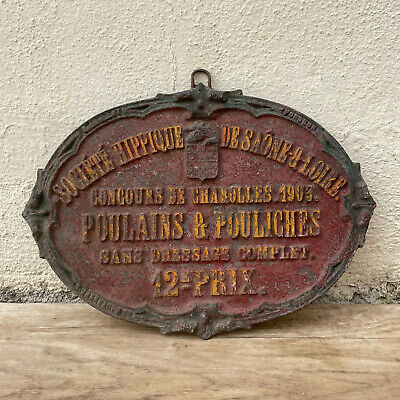 French Vintage Horse Contest Plaque Trophy Award Prize Sign 1903! 1502218