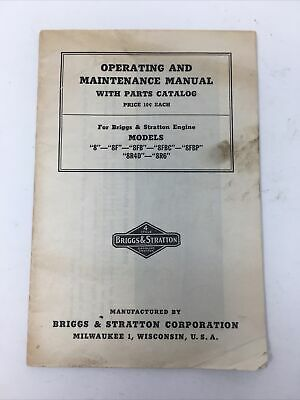 "Briggs & Stratton Model 5 Operating And Maintenance Manual W/ Parts Catalog ""8s"""