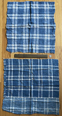 2 Pieces of Early 19th Century French Indigo Plaid Linen Fabric - 18x19, 19x19