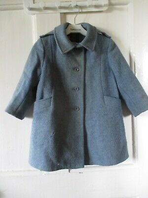 Vintage Marks & Spencer's Girl's Blue  Traditional Wool Coat Age 3 height  99cm