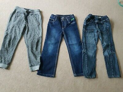 Bundle Boys Trousers Joggers Jeans Navy Grey 3 pair  Size 4-6 Years