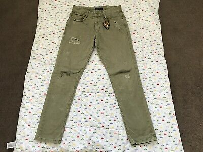 Boys Next Ripped Knee Straight Leg Jeans Age 13 Khaki Green Great Condition