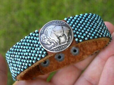 Cuff bracelet  authentic full horn Buffalo Indian Nickel coin Bison leather gold color glass bead for 7 inch to 7.5 inches wrist size in USA