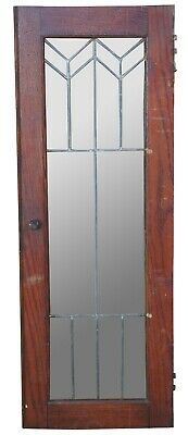 Antique Arts & Crafts Leaded Glass Window Cupboard Cabinet Door Transom 32""