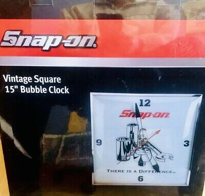 """Snap-on Tools 15"""" Vintage Square Bubble Clock SSX17P112"""