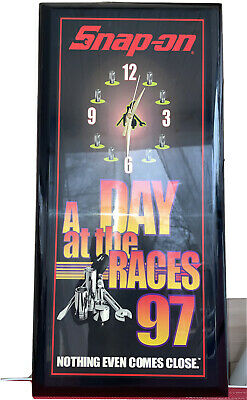 Snap On Tools Day At The Races Wall Clock Vintage 1997 New not working