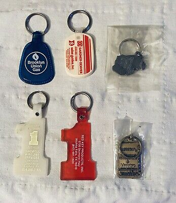 Lot Of 6 Vntg Oil & Gas Keychains Collectibles from 1970's