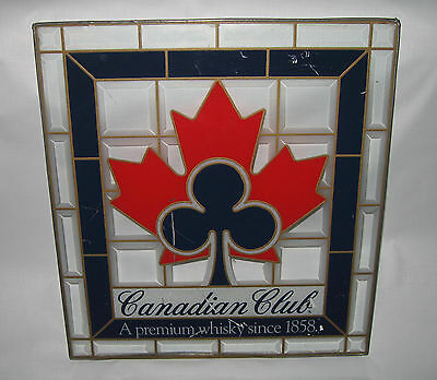Vintage Canadian Club Whisky Stained Glass Sign Rare