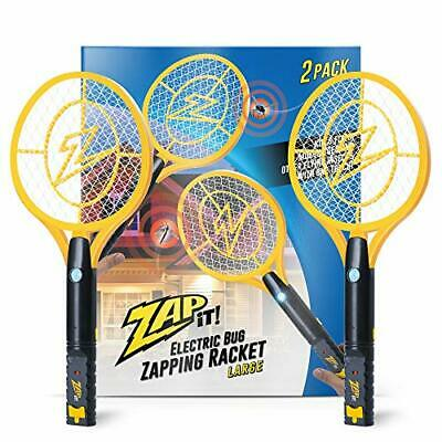 Zap It Bug Zapper Twin-Pack Rechargeable Bug Zapper Racket 4000 Volt USB Charger