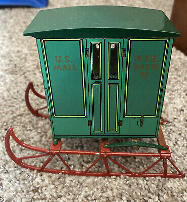 Vintage Green US Mail Rural Free Delivery Sled RFD Wood Replica Postal Service