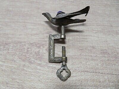 Ornate Bird Sewing Thumbscrew Silver Over Brass With Velvet Pin Cushion S396