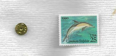 1990 Us Postage 25 Cent          Common Dolphin Stamp Pinback
