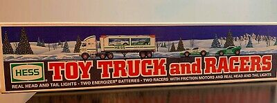 1997 Collectible Hess Truck And Racers New In Box NIB Adult Owned