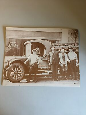 Coca-Cola 11x14 Black White Photo Print -- Bartow Bottling Works w/ Workers Car