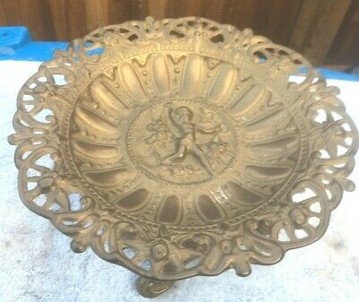 Beautiful Art Nouveau Solid Brass Dish.decorated With Ornate Cherub 9 Inches Dia