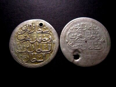 LOT OF TWO SCARCE MAHMUD II  COINS in GOOD PIERCED CONDITION+++