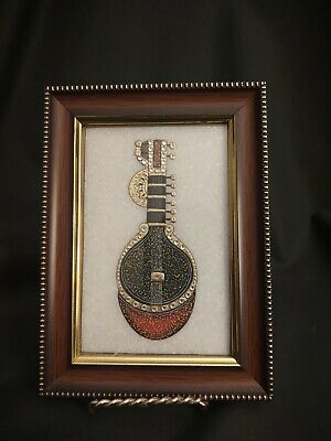 Mogul India Mandolin Musical Instrument Hand Painted Marble Wooden Frame Picture