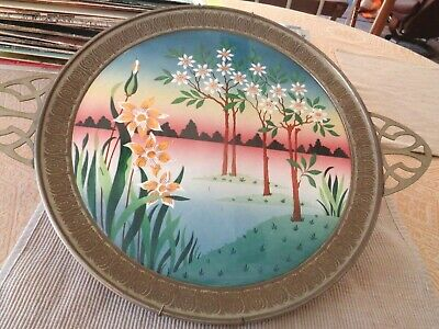 Antique Art Nouveau Jugendstil Signed Round Tile Tray Daffodils Flowering Trees