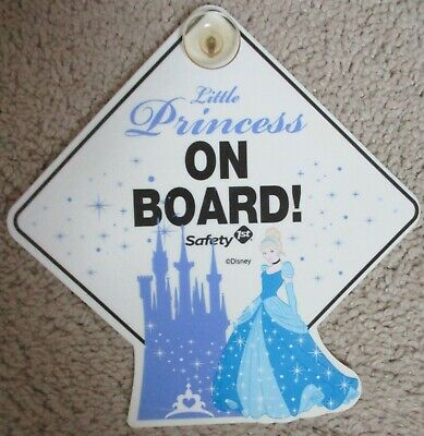 Disney Little Princess on Board Safety 1st Cinderella Shimmer Castle Car Sign