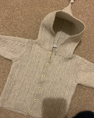 Jojo Maman Bebe Cardigan Jumper 18-24 Months Unisex Hooded Girls Boys Grey Stone