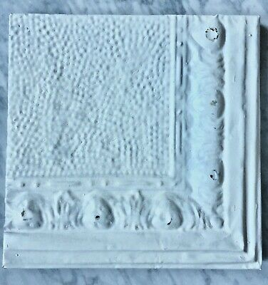 "Vintage Metal Ceiling Tile, Wrapped Frame, Salvaged, White, 11"" x 11"" x 1"""