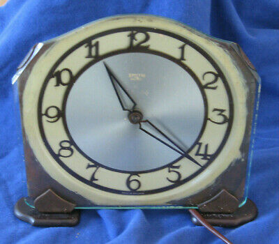 Vintage Smiths Sectric Art Deco Electric Mantel Clock Working For Restoration