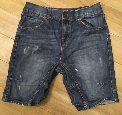 "Boys Size Age 13-14 Years Blue Denim Jean Shorts Distressed Ripped Jeans 29.5"" W"