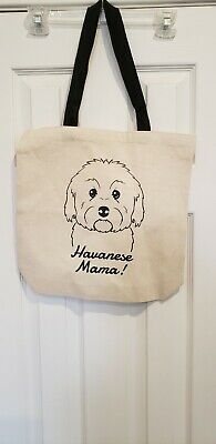 HAVANESE  MAMA Tote Bag Oatmeal and Black with Black Handle