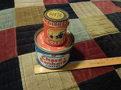 Folger's *Empty* Puzzle Canister + Chase & Sanborn (1 Lbs) Metal Coffee Can