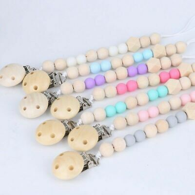 Soother Chain LOVED NATURAL Light weight Personalised Dummy Clip BIBS Dummy Colour Pacifier Clip Dummy Chain Wooden beads Dummy Clip