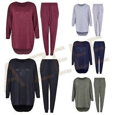 2 Piece Track Suit Set High Low Top and Bottoms Casual Loungewear Sweatshirt Jog