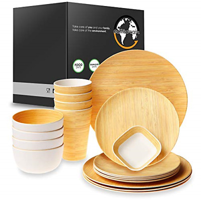 Earth's Dreams Reusable Bamboo Dinnerware Set for 4 Guest [17 Pieces] - Bamboo -
