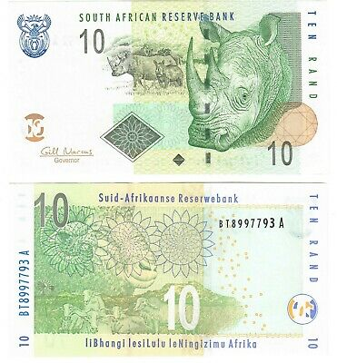 """South Africa 10 Rand 2009 UNC """"Marcus"""""""