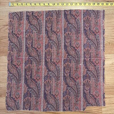 Antique French c. 1860 Exotic Paisley Printed Wool Challis Fabric 21inx21in
