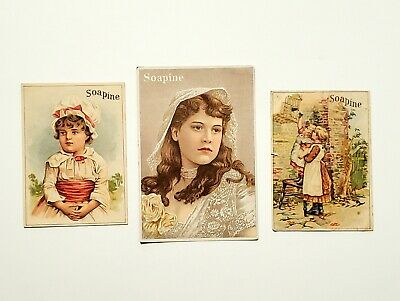 Set of 3 Victorian Soapine Soap Trade Card Girls Kendall Mfg. Co Providence R.I.