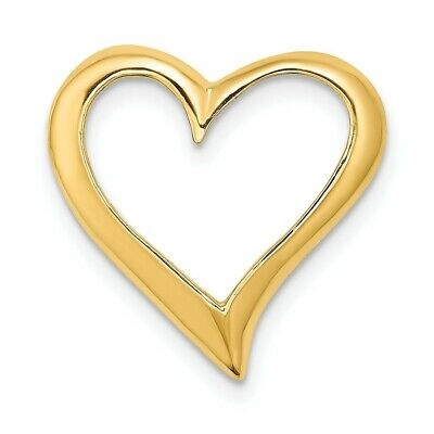 Heart Love Red Enamel Reversible Pendant Chain Necklace Real 14K Yellow Gold