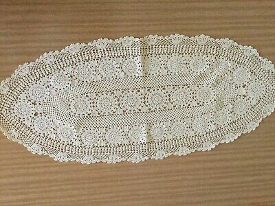 Vintage Oval Shaped Beige Crocheted Doilie with Scalloped Edges -NEW - FREE POST
