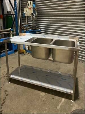 Double Bowl Compartment Sink Unit with One Undershelf