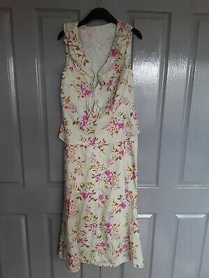 Women's Per Una Pastel Green Top & Skirt Set With Floral Design Size 12R
