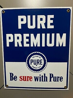 Pure Premium Gas Oil Pump Plate Porcelain Metal Sign