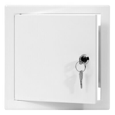White Metal Access Panel 200mm x 200mm with Lock / Keys Inspection Door Flap