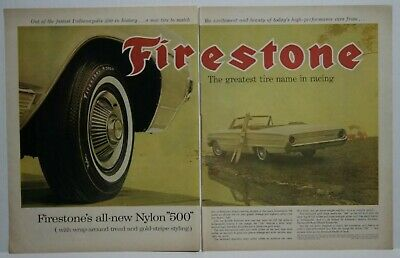 1964 Firestone Nylon 500 Gold-Stripe Tires Ford Galaxie 500  Print Ad 1960s