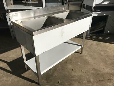 Commercial Sink Stainless steel 2 bowls Bottom shelf Splashback 120x60x90cm
