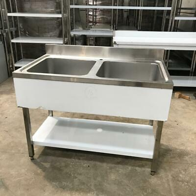 Commercial Sink Stainless steel two bowls Bottom shelf Splashback 120x70x90cm